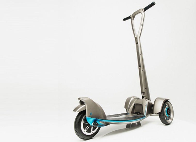 'E-floater' from Floatility – a first-of-its-kind, lightweight, solar-powered, electric scooter. The working prototype was created with Stratasys 3D printing