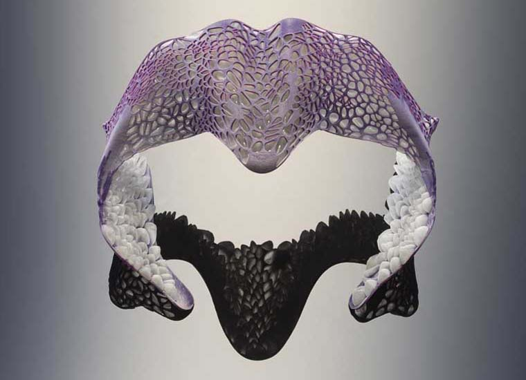 'Remora' by Prof. Neri Oxman in collaboration with STRATASYS – produced using Stratasys' unique color, multi-material 3D printing technology – collection of the Centre Pompidou Paris